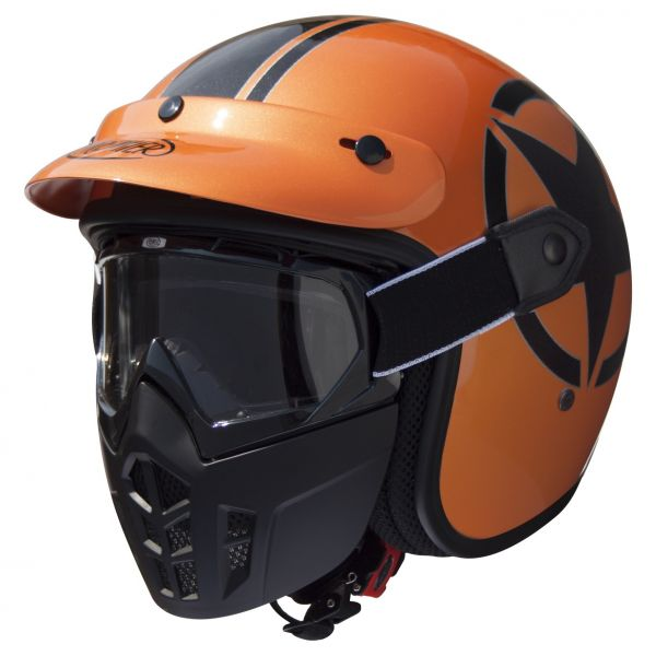 Premier Vintage Mask Jethelm Star Metallic Orange