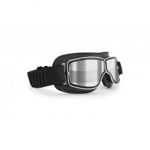 Bertoni AF188A Motorradbrille Antifog Schwarz Leder Klar/Verspiegelt